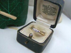 ANTIQUE VINTAGE 18CT GOLD PLATINUM DIAMOND ENGAGEMENT DRESS RING SIZE R 8.5