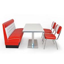 AMERICAN DINER Sitzgruppe Chicago rot Dinerbank 120 cm 2 Retro Stühle Tisch