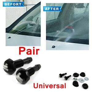 2x Black Aluminum Windshield Wiper Spray Jet Washer Nozzle Kit Car Accessories