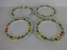 Vintage Dinner Plate Set 6 White Franco Giorgi Quadrifoglio Santos Platter Fruit