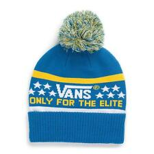 Vans Off The Wall Elite Pom Cuff Beanie Royal Blue and Yellow Mens Hat New NWT