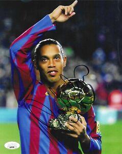 Ronaldinho Autographed 8x10 Photo JSA COA UEFA Brazil Soccer Signed FC Barcelona