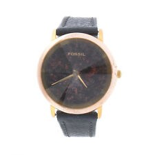 Fossil PC7309 Galaxy Womens Watch Convex Crystal Black Leather Band New Battery