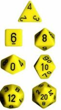 Chessex Dice Polyhedral 7 Die Set - Opaque Yellow / Black - DND / Roleplay etc