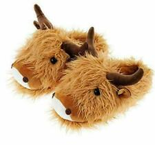 Aroma Home Highland Cow Fuzzy Friends Slippers Brown UK Size 4 to 7