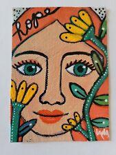 ORIGINAL ACEO Painting Folk Art Whimsical Girl Woman Hope Flower Leaf Face