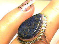 OLD Vintage Silver RING 8 LAPIS ESTATE NATURAL SILVER 925 STERLING bold elegant
