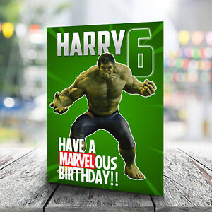 Hulk Birthday Card - Personalised With Any Name and Age. Marvel