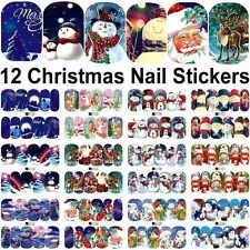 12 Sheets Christmas Water Transfer Nail Art Decoration Stickers Decals Xmas