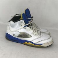 Nike Boys Air Jordan 5V Retro White Blue Athletic Sneaker Shoes Lace Up Sz 6.5Y