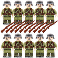 WW2 Army Military Ger Soldiers + Weapons WWII Mini Figures Toy Fits with lego