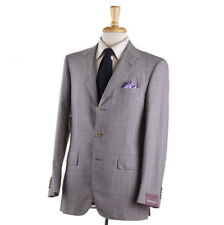 NWT $3695 SARTORIA PARTENOPEA Gray Check Lightweight Wool Suit 38 R (Eu 48)