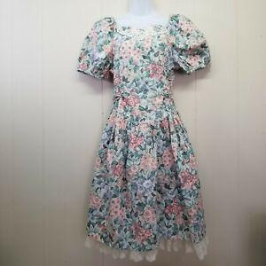 Bonnie Jean Vintage Puff Sleeve Peasant Cottagecore Crinoline Dress Girl 16 Lace