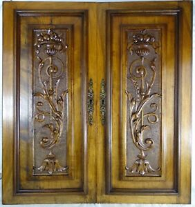 Antique French Carved Wood Doors Wall Panels Solid Walnut Renaissance Style