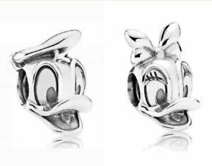 Donald Duck & Daisy Duck Disney Silver Plated Charm fits European Charm Bracelet