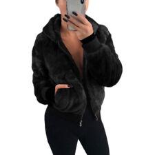 Women's Faux Fur Coat Hooded Fashion Slim Solid Short Jacket Soft Warm Coat New