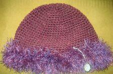 CROCHET-BEANIE-Women/Girls -Size Small 55-56cm Plum/Purple Tones Crochet Beanie