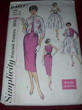 1958 SIMPLICITY #2407 - LADIES POOF or WIGGLE DRESS - BOLERO & BELT PATTERN 12uc