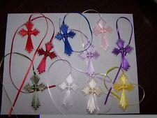Plastic Canvas Ribbon Cross Bookmarks Set of 6