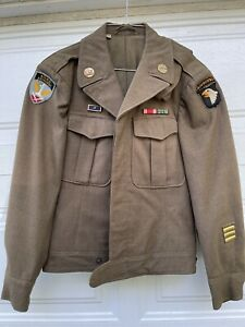 101st Airborne Allied Airborne Patched Paratrooper Ike Jacket w/ ribbons NO GLOW