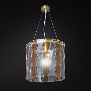 Hanging Chandelier 1 Light Gold With Plates Glass Fusion Crystal Amber