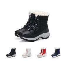 JACKSHIBO Womens Winter Waterproof Snow Ankle Boots Flat Combat Fur Warm Shoes