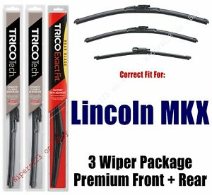 Wipers 3pk Premium Beam Blade Front/Rear fits 2016+ Lincoln MKX 19240/180/11G