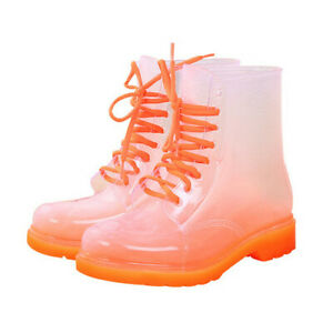 Women Rain Boots Lace Up Waterproof Transparent Candy Color Ankle Outdoor Shoes