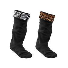 Ladies Wellington Boot Liner Socks Leopard Zebra Fleece Welly Festival UK