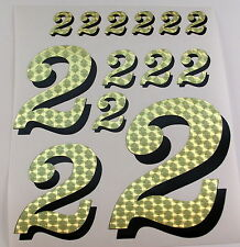 Racing Numbers Number 2 Decal Sticker Pack Gold Black for 1/8 1/10 RC models S01