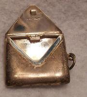 Antique Estate~925 Sterling Silver Envelope Stamp Case Box Holder Fob Pendant