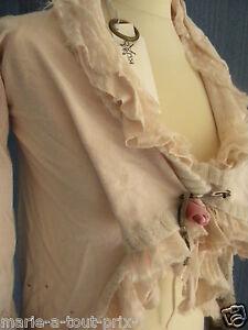 KUXO COUTURE splendide gilet très féminin rose thé soie mohair angora S 34/36