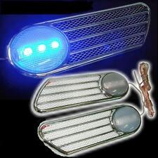 Car SIDE PANEL FENDER Vent Cover CHROME BLUE LED LIGHT X 2 PIECES