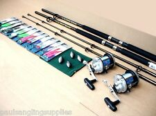 2 x SKP Beta Boat Fishing Rods J300 Multiplier Reels all Tackle to Fish Kit