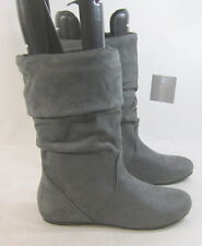 new ladies Gray Flat Slouch Round Toe Mid-Calf Sexy Boots Size 6.5