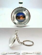 Vintage Camera Lens - Silver Tone Photo Glass Dome Key Ring