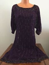 JKARA Womens Sz 10 Plum Purple Short Sleeve Beaded Dress Knee Length Party 4051E