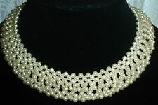 """Vintage Faux  Cream Pearl Double Layer Choker Necklace 15"""" w/3"""" Extender"""