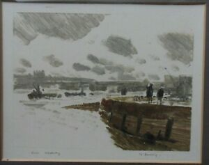 FRED CUMING RA  B1930 UNIQUE EARLY ORIGINAL PENCIL SIGNED MONOPRINT RIVER MEDWAY