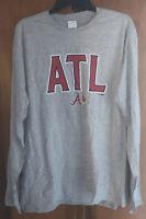 NWT Atlanta Braves MLB Men's Long Sleeve Shirt. Size 2XL & Gray.