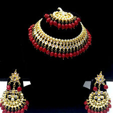 Indian Bridal Choker Kundan Necklace Earrings Tikka Gold Plated Fashion Jewelry