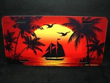 OCEAN SUNSET METAL NOVELTY LICENSE PLATE PALM TREES OCEAN WAVES TROPICAL BEACH