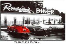 American Black and White Diner Canvas Print 30 x 50 x 1.8cm