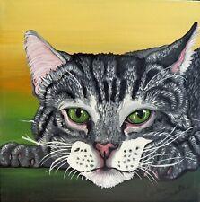 Grey Tabby Pet Cat Art Original 8 x 8 Deep Set Canvas Painting-Carla Smale
