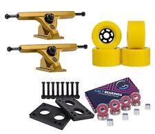 "Caliber Longboard Trucks 50° 10"" Gold + Cal 7 90mm Wheels Skateboard Combo"