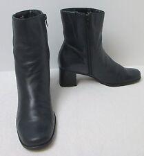 "Women's Easy Spirit ""Selenas"" Dark Night Blue Leather Zipper Ankle Boots 7.5 AA"