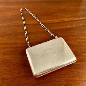 AMERICAN STERLING SILVER & LEATHER PURSE W/ AMETHYST CABACHON 103g
