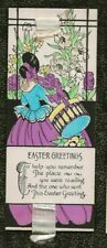 Vintage ART DECO EASTER CARD BOOKMARK Hooped Skirt Woman HAT BOX Silk Ribbon