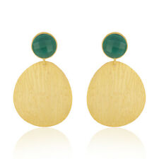 18K Gold Plated Brass Green Onyx Gemstone Party Wear Earrings Fashion Jewelry