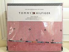TOMMY HILFIGER TWIN XL DORM 3pc Sheet Set BOAT Red Stripes NIP Authentic New